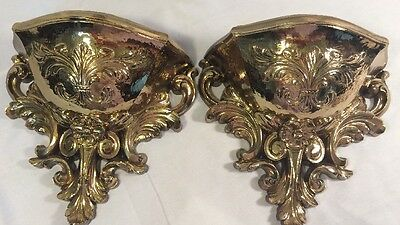 2 Vintage Homco Home Interiors Bright Gold Wall Pockets Planters, Very Good