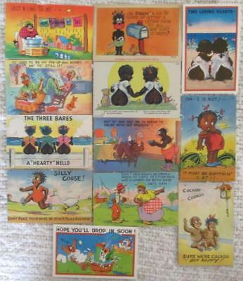 Twelve Color Litho Satin Post Cards w/ Humorous African American Themes