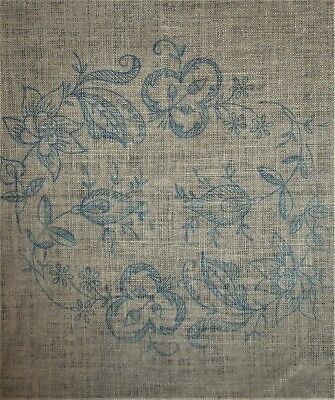 Jacobean Floral Pillow Vintage Stamped Linen Yarn Etc Part Crewel Embroidery Kit