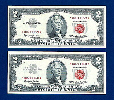 1963 $2  Red Seal Star Notes   (Two)  Uncirculated  Consecutive  High Grade Gems