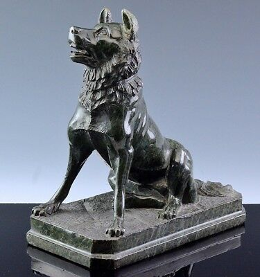 HANDSOME LARGE 19thC ITALIAN GRAND TOUR GREEN SERPENTINE MARBLE CARVING OF DOG
