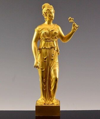 INCREDIBLE QUALITY 18th/19thC DORE GOLD GILT BRONZE MAIDEN WITH FLOWER FIGURE