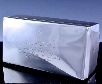 FINEc1939 BIRKS STERLING SILVER CANADIAN GRENADIER GUARDS MILITARY CIGARETTE BOX