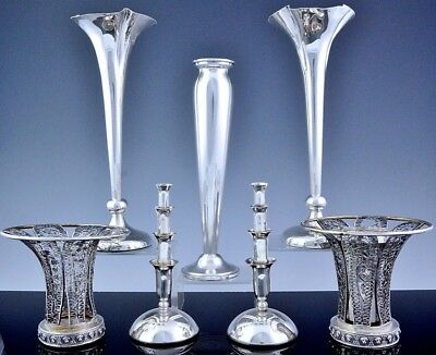 V.fine Estate Lot English American Sterling & Continental Solid Silver Bud Vases