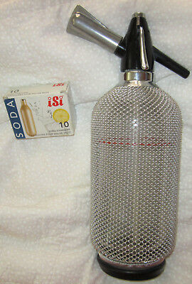 VTG Merkuria Kovocas Seltzer Bottle Czech Glass #89 Chrome Wire Mesh 10 Chargers