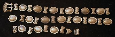 569 Vintage 36 Piece Set of Sterling Silver Concho Belt Parts- 51 Grams