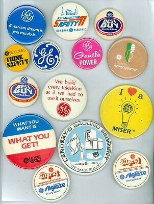 14 Vintage 60s-80s General Electric Ideas & Products Advertising Pinback Buttons