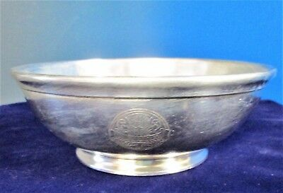 THE BARCLAY Hotel (New York) Soup or Cereal Bowl THISTLE LOGO Silverplate