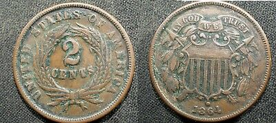 1864 (large motto) U.S. Two Cent Piece - Solid VF but dirty  stk#fjp122