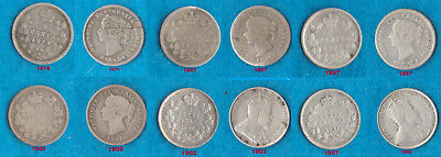 1874, 1897, 1897, 1900, 1902, 1907-Canada 5 Cents Silver Coins.All For One Money