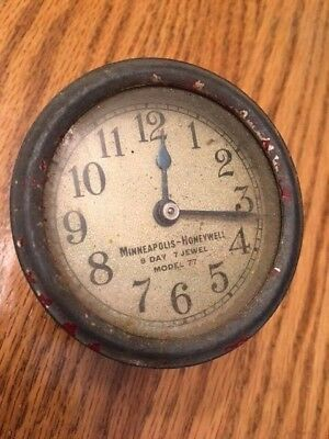Vintage Minneapolis Honeywell Model 77 Thermometer 8 Day 7 Jewel Clock With Key