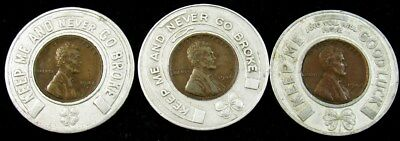 3x 1940s Encased Lincoln Cents - Good Luck Penny - Chevrolet Kantar's Prizes