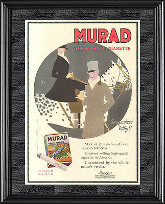 Antique 1916 MURAD Cigarette Poster APPALOOSA Horse English Equestrian Art Ad