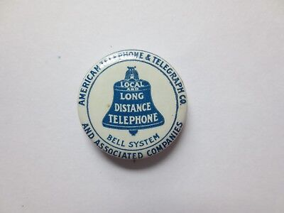 Celluloid Advertising Pinback for Local & Long Distance Telephone of the...