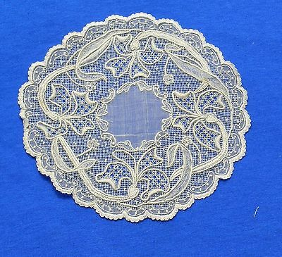 Rare Antique Lace Embroidered   Doily