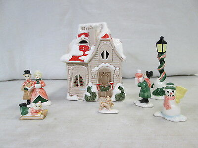 1970's, Fitz & Floyd, 7 Piece Christmas Village: House, Snowmn, Dog & More