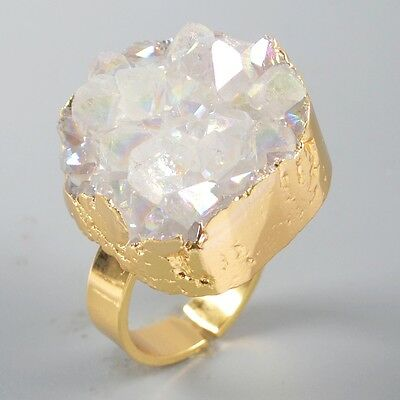 Size 6.5 Natural Druzy Quartz Crystal Point Titanium AB Ring Gold Plated T030571