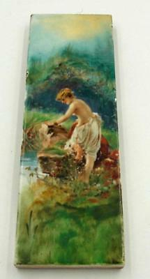 Antique Trent Stunning Hand Painted Tile Nude Girl Bathing At The River