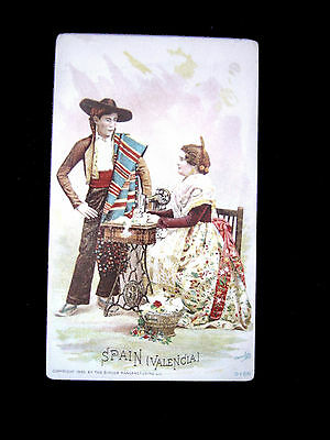 Victorian Trade Card=SPAIN (VALENCIA)=TRADITIONAL CLOTHING=SINGER SEWING MACHINE