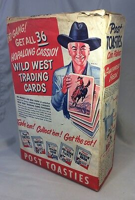 1952 POST Toasties HOPALONG Cassidy WILD WEST Trading Card CERAL Box Advertising