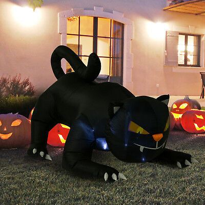 Airblown inflatable halloween cat with ghost 8 ft lighted for Air blown decoration