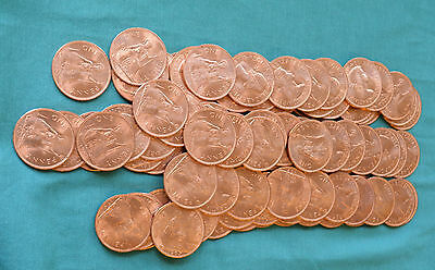 100 x One Penny 1d pennies BRAND NEW(!) 1967 date 50 yrs old from sealed bag!