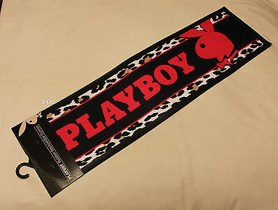 Playboy Bunny Logo Black Pink Leopard Printed Rubber Backed Bar Runner Mat New