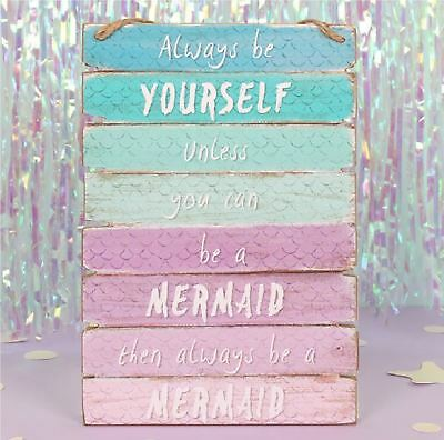 Mermaid Ombre Wooden Wall Hanging Sign Plaque Kids Bedroom Decoration Home Gift