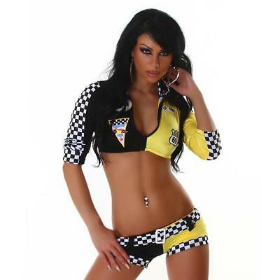 Sexy 4-Tlg Racing Outfit Kostüm Gogo Stripper Multicolor 34/36/38 #gw312