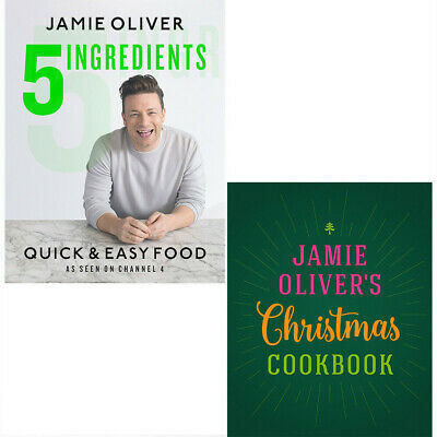 5 Ingredients and Jamie Oliver's Christmas Cookbook 2 Books Set Hardcover NEW