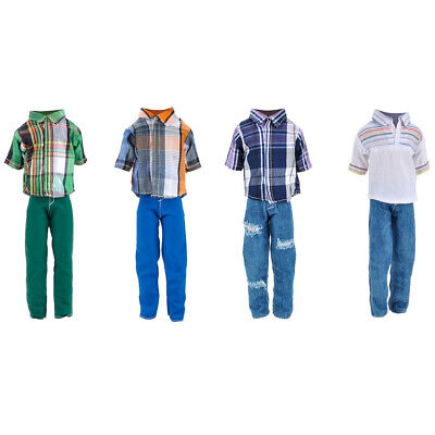 4Suit Clothes Outfit for Ken Barbie Doll Check T-shirt + Pants Suit Dress Up