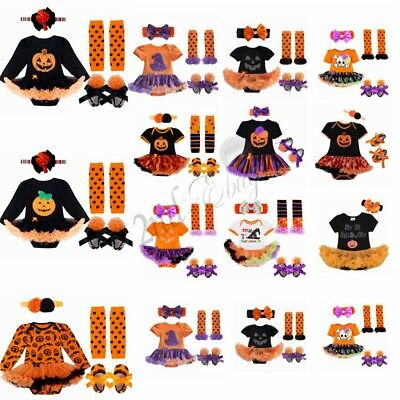 Newborn Baby Girl 4Pcs Pumpkin Romper Tutu Skirt Headband Shoes Outfit Halloween