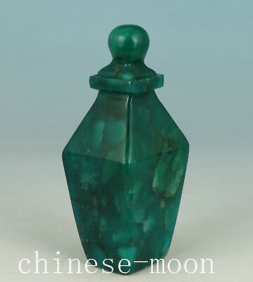 Jade Old Handmade Carved Square Statue Snuff Bottle Ornament