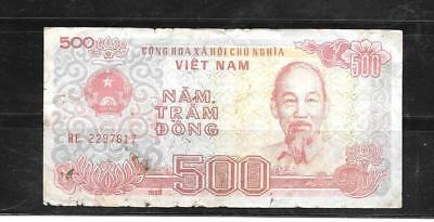 VIETNAM #101a 1988 VG USED OLD 500 DONG BANKNOTE BILL paper money CURRENCY