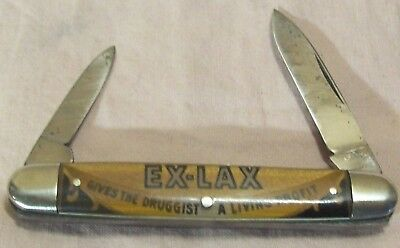 1930's~EX LAX~WHITEHEAD & HOAG~LAXATIVE ADVERTISING POCKET KNIFE~EQUAL END JACK
