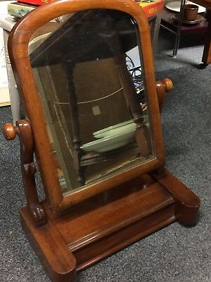Antique Edwardian Mahogany Swing Mirror With Lift Lid Compartment