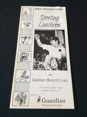 Sporting Luncheon Programme 1995 ~ Signed By Geoffrey Boycotted