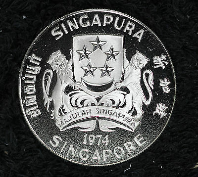 Rare 1974 Singapore Silver Proof Deep Cameo $10 Crown Coin!!   Original Box/COA