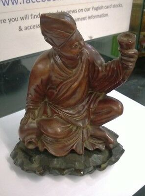 Vintage Antique Asian Chinese wooden carving Figure Man Rose Wood / Teak