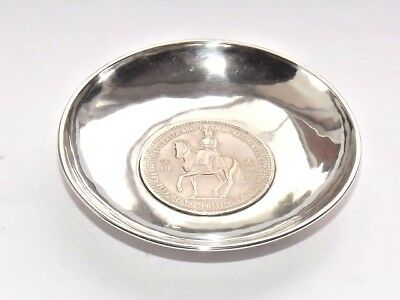 RARE WANG HING ANTIQUE CHINESE EXPORT SOLID SILVER COIN DISH/ BOWL c1900