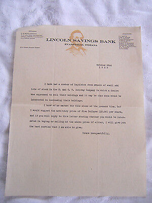 E. and O.V. RAILWAY Stock inquiry letter -Lincoln Savings Bank 1923 Victor Bond