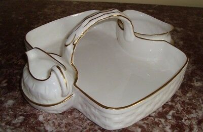 HAMMERSLEY England STRAWBERRY BASKET, CREAMER, SUGAR BOWL White and Gold