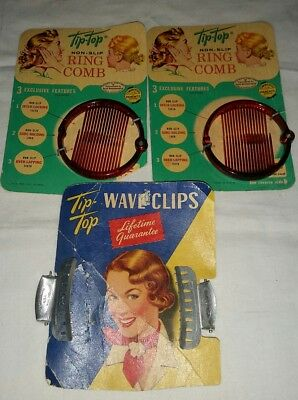 Vintage Tip Top Hair Ring Combs and Wave Clips on cards NOS