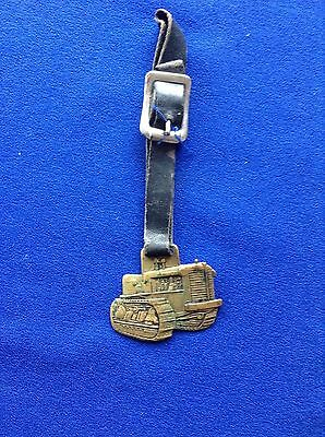 Vtg Heavy Brass Allis Chalmers Bulldozer Watch Fob With Original Leather Strap