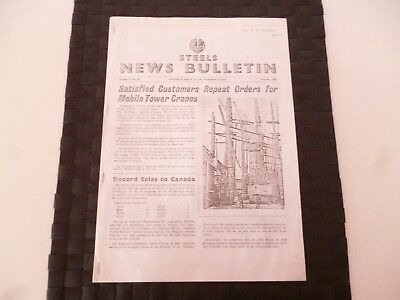 STEELS NEWS BULLETIN STEEL & Co SUNDERLAND COLES CRANE OCTOBER 1956 *AS PICTURES