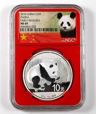 2016 China 10 Yuan Panda 1 Oz .999 Fine Silver - NGC MS 69 - Red Slab