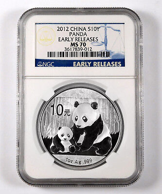 2012 China 10 Yuan Panda 1 Oz .999 Fine Silver - NGC MS 70 - Early Releases