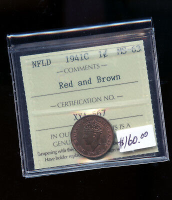 1941 C Newfoundland Small cent ICCS Certified MS63 RED & BROWN  B968