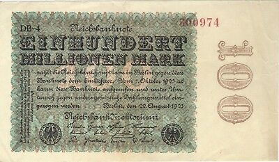 1923 100 Million Mark Germany Currency Reichsbanknote German Banknote Note Bill