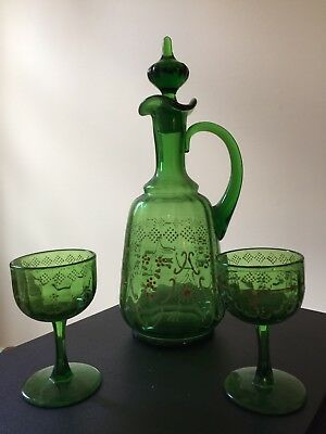 Vintage Victorian Hand Painted Green Decanter & Goblets